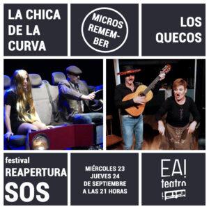 """MICROS REMEMBER: """"LA CHICA DE LA CURVA"""" Y """"LOS QUECOS"""" @ Ea! Teatro"""